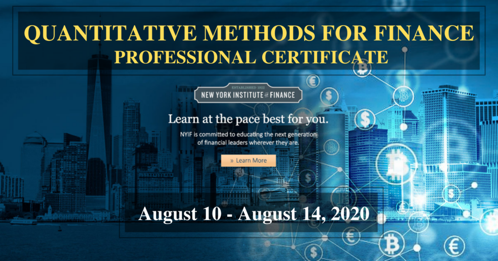 QUANTITATIVE METHODS FOR FINANCE PROFESSIONAL CERTIFICATE