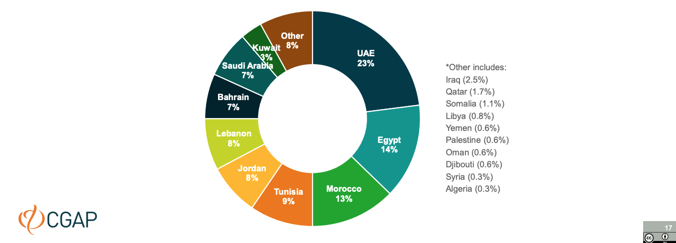 Fintech solution geographical distribution, Fintechs Across the Arab World, CGAP, Dec 2020